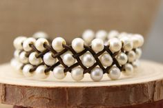 ETS-B144  Freshwater Pearl and Leather Bracelet ,Leather pearl bracelet, leather and pearl , bead weaving jewelry , beaded bracelet