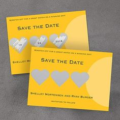 Yellow and Grey Wedding Ideas - Trio of Hearts Scratch-off - Save the Date - Marigold (Card Link - http://occasionsinprint.carlsoncraft.com/Weddings/Save-the-Date/MR-MR99BKMA-Trio-of-Hearts-Scratchoff--Save-the-Date--Marigold.pro)