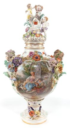 A monumental ~ Dresden ~ Meissen-style ~ porcelain ~ Potpourri vase ~ elaborately decorated ~ Circa 1880