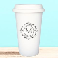 Personalised Decorative Initial Ceramic Travel Mug Personalized Christmas Gifts, Christmas Gifts For Her, Hot Coffee, Coffee Cups, Selling On Pinterest, Travel Mug, Initials, Ceramics