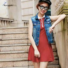 745a2b20732 Women Denim Vest 2017 Spring Summer Style Cardigan Lady Denim Jean Vests  Coats Plus Size Tops High Quality Vest Jacket Short(China)