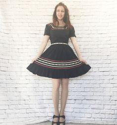 Vintage 50s Patio Dress Set S Ethnic Squaw RicRac Ribbon Striped Navy Top Skirt Ruffled by PopFizzVintage on Etsy