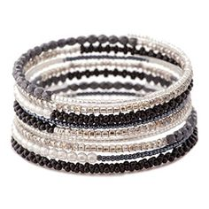 Tuxedo Memory Wire Bracelet Kit by FusionBeads.com® | Fusion Beads