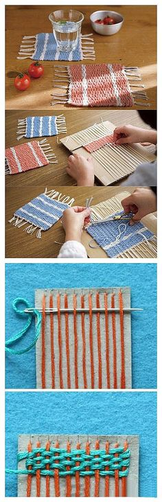 Weaving placemats or coasters with cardboard and yarn or embroidery floss. Weaving placemats or coasters with cardboard and yarn or embroidery floss. Kids Crafts, Yarn Crafts, Diy And Crafts, Arts And Crafts, Diy Projects To Try, Sewing Projects, Craft Projects, Craft Ideas, Knitting Projects