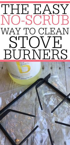 Clean those tough baked on stove messes with this simple tip. It's the easy no-scrub way to clean stove burners. It only takes a few minutes of your time, then soak, and it's done!