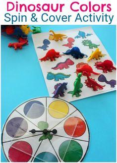 Preschool Colors Activity for a Dinosaur Theme. Preschool Color Theme, Preschool Color Activities, Dinosaur Theme Preschool, Dinosaur Activities, Autism Activities, Language Activities, Classroom Activities, Preschool Room Decor, Preschool Printables