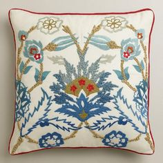 One of my favorite discoveries at WorldMarket.com: Floral Palampore Throw Pillow