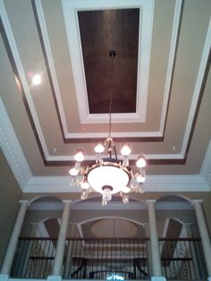 Wallpaper In A Tray Ceiling Or Stencil With Clear Gloss