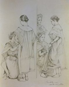 """Before the performance"", 1990, pencil drawing on paper, by Chakrabhand Posayakrit, a Thai national artist"