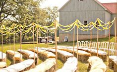 Outdoor Wedding Ceremony on Hay Bails