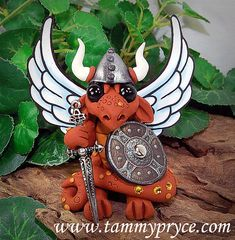 Polymer Clay Viking/Warrior Butterfly Dragon With Large Axe Sculpture Fantasy Home Decor Statue and Collectibles Crystal Dragon, Butterfly Dragon, Viking Warrior, Little Dragon, Polymer Clay Creations, Dragon Art, Air Dry Clay, Clay Ideas, Metallic Paint