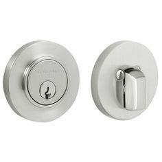 """Baldwin 8244 Contemporary Style Deadbolt for 2-1/8"""" Door Prep Satin Chrome Deadbolt Keyed Entry Single Cylinder"""