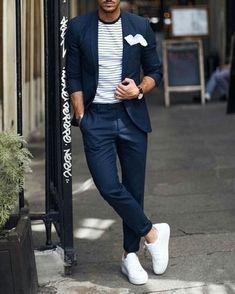 Check out Inherent Clothier shop for Premium Quality Suits! Business Casual Dresscode, Business Dress, Smart Casual Men, Stylish Men, Best Mens Fashion, Mens Fashion Suits, Blazer Outfits Men, Casual Outfits, Costume Bleu Marine