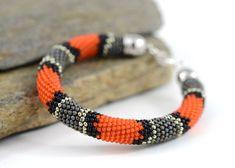 Coral Snake - Beaded Bracelet Bead Crochet Bracelet Snakeskin Bracelet Grey…