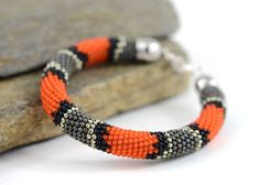 UNIQUE & ELEGANT Beaded Bracelet. This Coral Snake Beaded Bracelet is made of Japanese seed beads of superior quality - Grey and Orange colors. It is