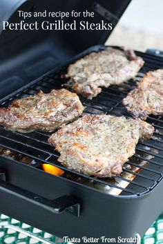 How to Grill Ribeye Steaks! Tips and a recipe for fool-proof grilling!  Recipe from TastesBetterFromScratch.com