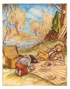 A leisurely picnic-- Illustration by Charles van Sandwyck for The Wind in the Willows, Folio Edition.