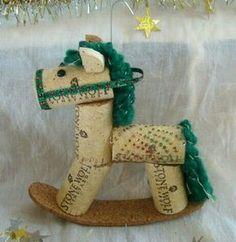 Wine Cork Rocking Horse Ornament Green Speckled by TeaandSquirrels Wine Craft, Wine Cork Crafts, Wine Bottle Crafts, Wine Bottles, Wine Cork Ornaments, Christmas Ornaments, Handmade Ornaments, Wine Cork Art, Wine Corks