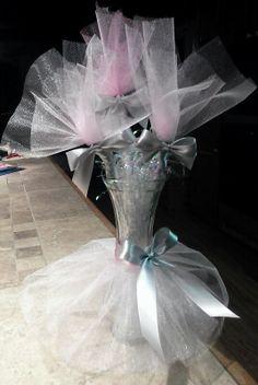 vase centerpieces tulle tutu flower arrangements baby shower flowers table
