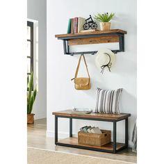 Bench Set, Wood Storage Bench, Entryway Hooks, Entryway Decor, Entryway Ideas, Small Front Entryways, Rustic Coat Hooks, Rustic Wood Bench, Low Shelves