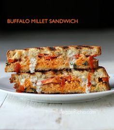 Vegan Richa: Grilled Sandwich with Buffalo Millet, Red Bell Pepper, Creamy Ranch. Vegan Recipe