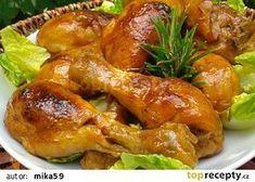 Kuřecí paličky pečené v marinádě recept - TopRecepty.cz Chicken Recepies, Czech Recipes, Bento Box, Chicken Wings, Poultry, Food And Drink, Menu, Cooking Recipes, Straws