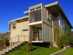 shipping container house. very modern contemporary look