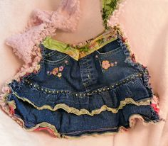 Made out of a little girl's denim skirt!  Vintage chenille and hot pink with white polka dots!!  hand blinged, hand embroidered!  LoveNanaLaurie!!