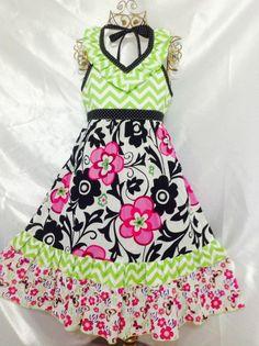 Girls Emmaline  Dress Size 6 Handmade; Everyday Use; 100%cotton #Handmade #Everyday