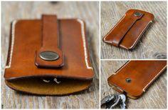Leather key holder, veg tanned leather keychain, custom made
