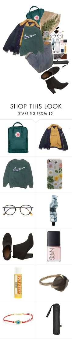 """Leave A Trace"" by lady-wednesday ❤ liked on Polyvore featuring Fjällräven, NIKE, Yeah Bunny, Frency & Mercury, Aesop, Essie, NARS Cosmetics, Burt's Bees, Pomellato and Bling Jewelry"