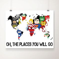 Use the Dr.Seuss quotation for a world map and get the boys to stamp the places they have been/make it magnetic and have little magnetic markers