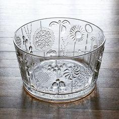 """Iittala """"Flora"""" salad bowl designed by Oiva Toikka. Largest size in the series 9.5"""" dia. #iittala #oivatoikka #flora #glass #bowl #midcentury #vintage #retro #kitchenware #finland #midcenturymodern #maxwellmodern"""