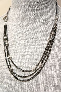 Black Gunmetal Multi Strand Necklace with Silver by LinksLocks, $25.00