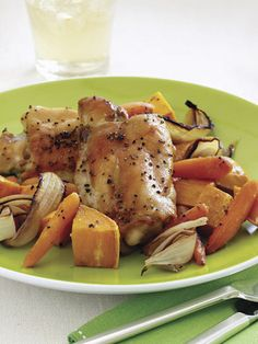 Maple-Roasted Chicken Thighs with Sweet Potatoes