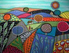 karla gerard art - I love the colors Illustrations, Illustration Art, Karla Gerard, Art Textile, Collaborative Art, Naive Art, Whimsical Art, Fabric Painting, Landscape Art