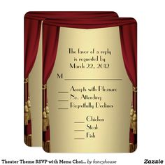 Theater Theme RSVP with Menu Choice Card