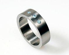 Wide black diamond wedding ring made from by TorkkeliJewellery