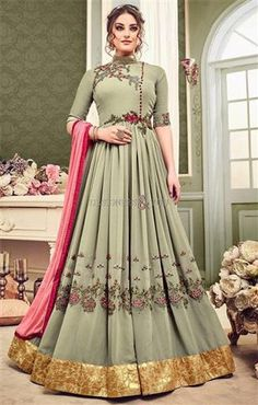 #DesignersAndYou Spiff Up Your Style By Wearing Attractive Celadon Green #Georgette #FloorTouch #Indo #WesternGown. This Pleated #Style #IndoWesternDress Set Is Teamed With Closed Neckline & Elbow Sleeves. #Embroidery, Colorful #BorderWork & #ContrastEmbroidery Tart Up The #SangeetWear.  Add On Lining: Santoon Fabric.