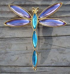 Vintage Goldtone Signed TRIFARI Dragonfly Brooch Pin Blue Purple Gold