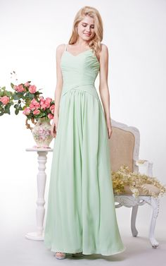 US$93.87 – Patel Dream: Spaghetti straps chiffon bridesmaid dress. www.doriswedding..... Find the best bridesmaid dresses at DorisWedding. We have all styles & colors, such as purple, gold, red & lace, country and vintage. #DorisWedding.com