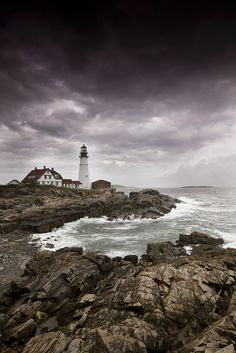 Storm approaching Portland Head Light, Cape Elizabeth, Maine