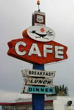 """El """"Roadrunner Cafe"""" en Gallup, Nuevo México."""