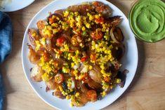 smashed potatoes with sweet corn relish – smitten kitchen Corn Relish, Vegetarian Recipes, Healthy Recipes, Vegetable Recipes, Healthy Meals, Delicious Recipes, Smitten Kitchen, Grilled Vegetables, Veggies