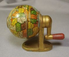 Vintage World Globe German Pencil Sharpener - Ruby Lane Vintage Globe, Vintage Maps, Vintage Antiques, Vintage Items, Antique Maps, World Globe Map, Old Globe, Map Compass, Vintage Office