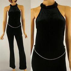 Vintage 80s Black Velvet Halter Top Jumpsuit Rhinestone Belt Sexy Party sz S #Chelsey