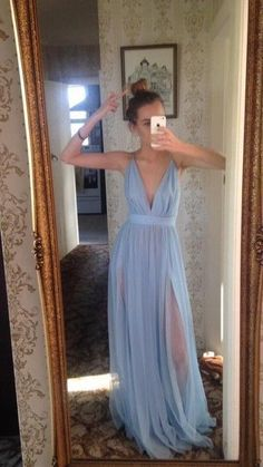Light Sky Blue Cut Low Split Side Long Prom Dresses for Women