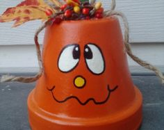 Halloween decorations clay pot ghost vampire by AJewelOfACraft