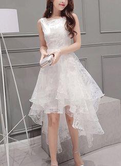 A chicloth women's elegant solid sleeveless high low organza dress mez Elegant Dresses, Pretty Dresses, Beautiful Dresses, Casual Dresses, Fashion Dresses, Formal Dresses, Teen Dresses, Midi Dresses, Organza Dress