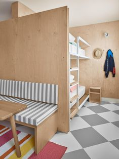 plywood bunkbeds and a bench Bunk Bed Rooms, Bunk Beds, Quad Room, Hostels, Parents Room, Hotel Room Design, Bunk Bed Designs, Unique Hotels, Luxury Hotels